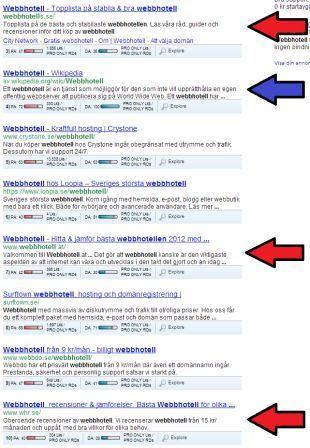 Sökresultat i Google